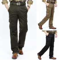 Fashion Solid Color Multi-pocket Man's Pants