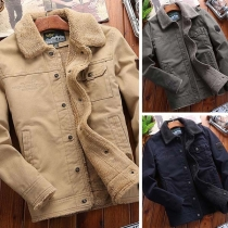 Fashion Long Sleeve POLO Collar Plush Lining Man's Coat