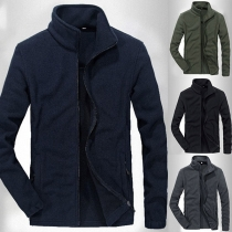 Fashion Solid Color Long Sleeve Stand Collar Man's Coat