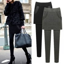 Fashion Solid Color High Waist Mock Two-piece Leggings