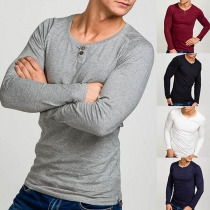 Fashion Solid Color Long Sleeve Round Neck Man's T-shirt