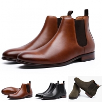 Retro Style Flat Heel Round Toe Man's Ankle Boots