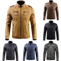 Fashion Long Sleeve Stand Collar Plush Lining Man's PU Coat