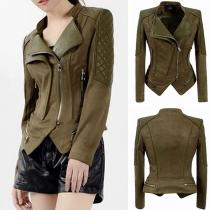Fashion Irregular Hem Oblique Zipper PU Leather Spliced Jacket