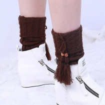 Fashion Solid Color Tassel Knit Leg Warmer