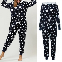 Fashion Long Sleeve Hooded Heart Printed One-piece Pajamas Sleepwear
