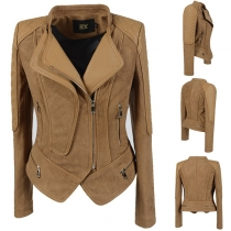 Fashion Solid Color Long Sleeve PU Leather Spliced Slim Fit Jacket