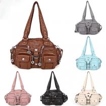 Fashion Solid Color Multi-pockets Shoulder Messenger Bag