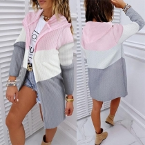 Fashion Contrast Color Long Sleeve Hooded Knit Cardigan