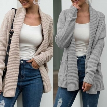 Fashion Solid Color Long Sleeve Lapel Knit Cardigan