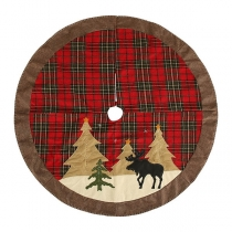 Fashion Christmas Tree Pattern Plaid Patch Christmas Tree Skirt