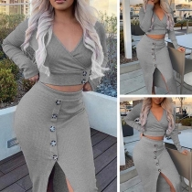 Sexy Long Sleeve V-neck Crop Top + Slit Hem Skirt Two-piece Set