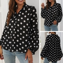Fashion Puff Sleeve V-neck Dots Printed Blouse