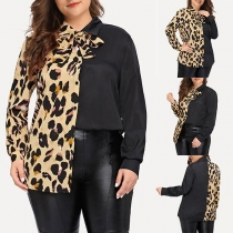 Fashion Leopard Spliced Long Sleeve Plus-size Shirt