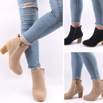 Fashion Thick-heel Round Toe Side-zipper Ankle Boots Booties
