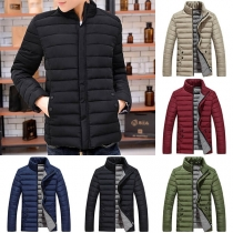Fashion Solid Color Long Sleeve Stand Collar Man's Padded Coat