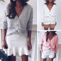 Fashion Solid Color Long Sleeve V-neck Lace Spliced Knit Cardigan