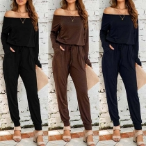 Sexy Off-shoulder Boat Neck Long Sleeve High Waist Solid Color Jumpsuit