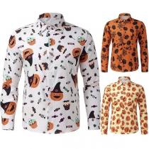 Fashion Long Sleeve POLO Collar Man's Printed Shirt