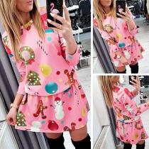 Fashion Colorful Printed Long Sleeve Round Neck Christmas Dress