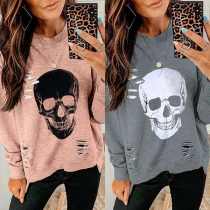 Trendy Ripped Irregular Hem Skull Print Long Sleeve Sweatshirt