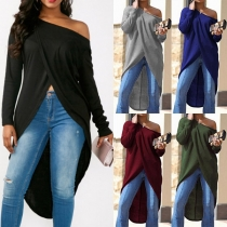 Sexy Oblique Shoulder Long Sleeve Irregular Hem Top