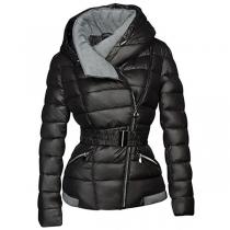 Fashion Long Sleeve Oblique Zipper Hooded Padded Coat(It falls small)