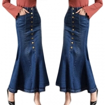 Fashion High Waist Fishtail Hem Denim Skirt
