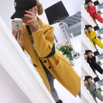 Fashion Solid Color Long Sleeve Single-breasted Woolen Thin Long Jacket