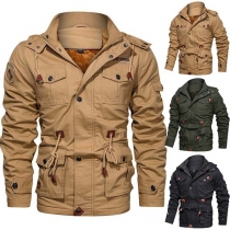 Fashion Solid Color Long Sleeve Drawstring Waist Hooded Man's Coat