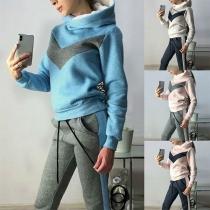 Fashion Contrast Color Hoodie + Pants Two-piece Set