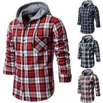 Fashion Long Sleeve Hooded Man's Plaid Shirt