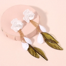 Fresh Style Leaf Tassel Pendant Flower-shaped Earrings