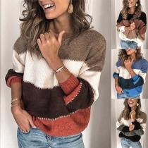Fashion Contrast Color Long Sleeve Round Neck Sweater (It falls small)