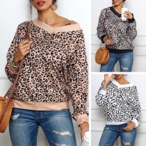 Fashion Long Sleeve V-neck Leopard Printed Sweatshirt