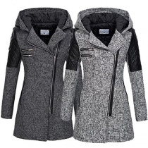 Fashion PU Leather Spliced Long Sleeve Hooded Oblique Zipper Coat(It falls small)
