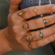 Bohemian Style Hollow Out Alloy Ring Set 11 pcs/Set