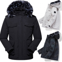 Fashion Faux Fur Spliced Hooded Plush Lining Padded Coat