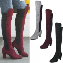 Fashion Contrast Color Thick High-heeled Over-the-knee Boots
