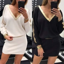 Sexy V-neck Long Sleeve Slim Fit Dress