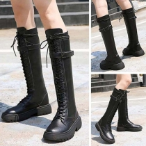 Fashion Flat Heel Round Toe Lace-up Knight Boots