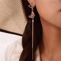 Fashion Long Tassel Pendant Holow Out Butterfly Earrings