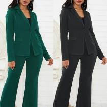 OL Style Long Sleeve Blazer + High Waist Suit Pants Two-piece Set