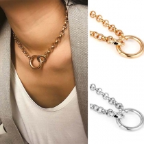 Chic Style Round Circle Pendant Chain Choker Necklace