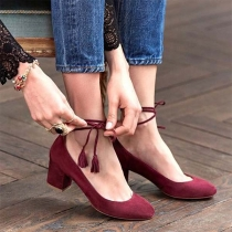 Fashion Thick Heel Round Toe Lace-up Shoes