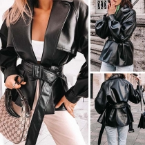 Punk Style Long Sleeve Notched Lapel PU Leather Jacket
