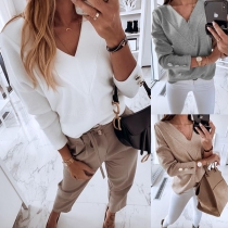 Fashion Solid Color Long Sleeve V-neck Button Top
