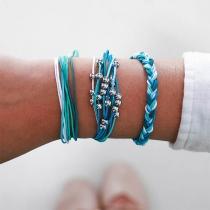 Fashion Contrast Color Braided Bracelet Set 3 pcs/Set