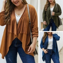 Fashion Solid Color Long Sleeve Lapel Plus-size Cardigan