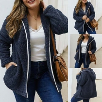 Fashion Solid Color Long Sleeve Hooded Plush Plus-Size Coat